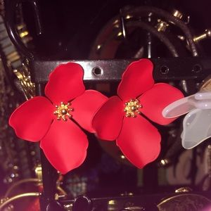 440bcb6ccf39 Anthropologie Jewelry - Anthropologie Red Flower Stud Earrings